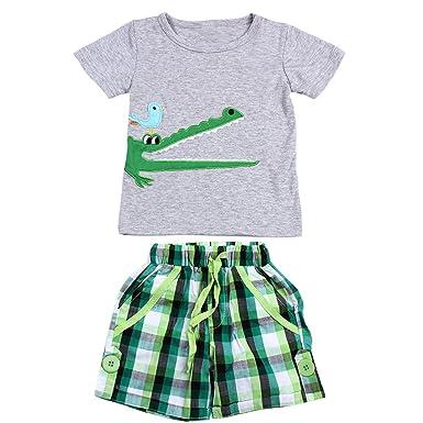 948a3eedaf1e03 Demiawaking 2pcs Baby Jungen kurzarm T-Shirt Tops kurze Hosen Outfit ...