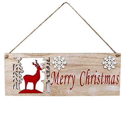1a77f180 Amazon.com: CHITOP Merry Christmas Decorations Wooden Hollow ...