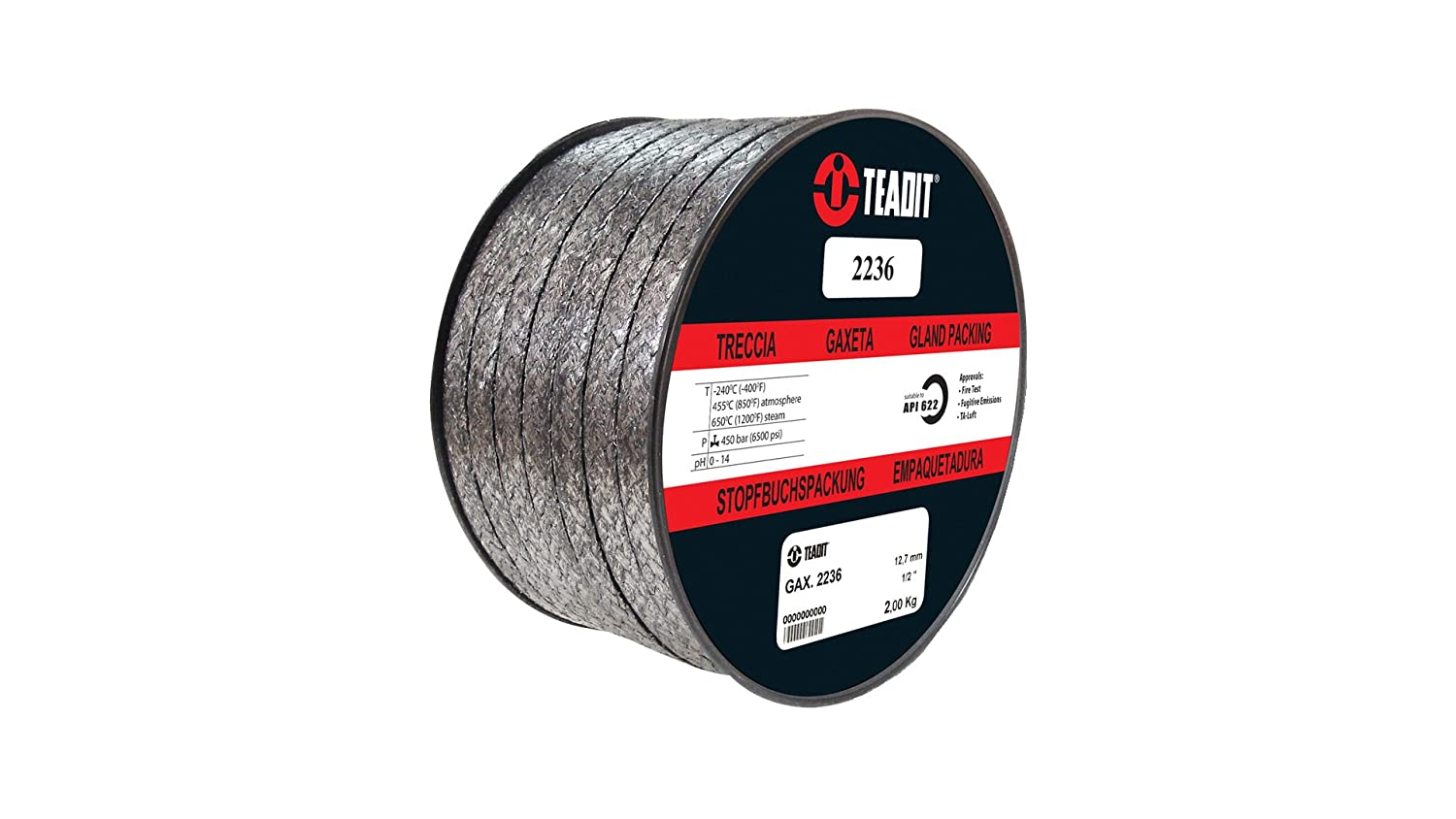Spool Sterling Seal and Supply STCC Spool 1//2 CS x 5 lb 2236.500X5 Teadit Style 2236 Graphite Foil with Inconel Wire Jacket 1//2 CS x 5 lb
