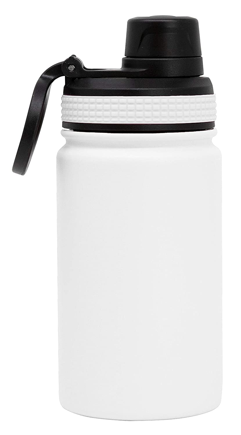 MIRA 12 oz Stainless Steel Sports Water Bottle | Metal Thermos Flask Keeps Cold for 24 Hours, Hot for 12 Hours | Wide Mouth & Double Wall Vacuum Insulated (12 oz (350 ml), White)