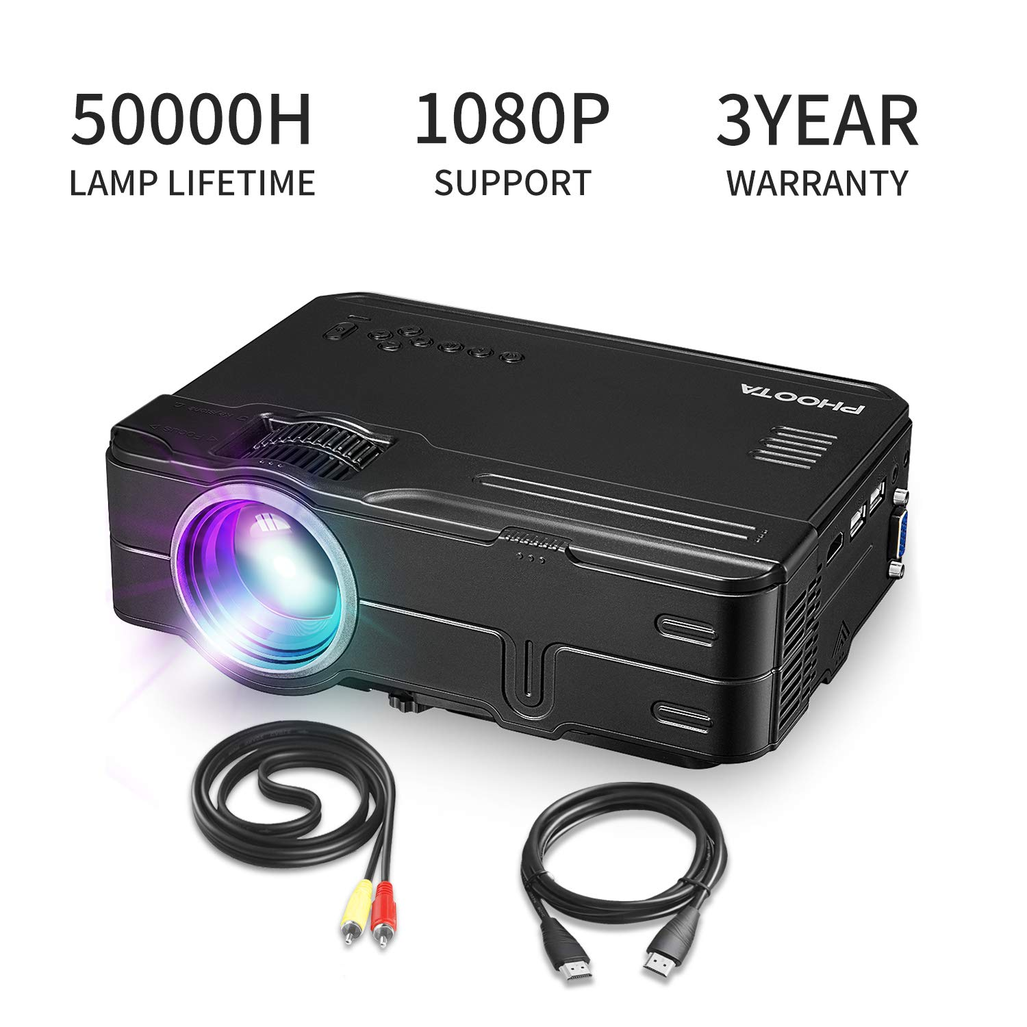 PHOOTA Mini Projector, 2019 Upgraded Portable LED Video Projector with 50,000 Hrs LED Lamp Life, 2400 Lux Full HD 1080P and 170'' Display Supported, Compatible with HDMI, VGA, USB, AV, Laptop by PHOOTA