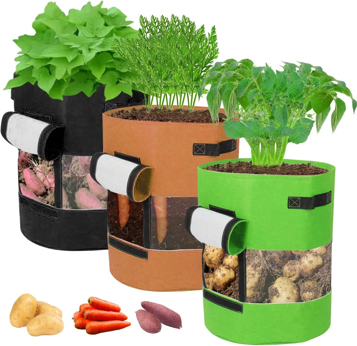FANCYSEEU 3 Pack 10 Gallon Potato Grow Bags Visualization Heavy Duty Thickened Fabric Planting Pots with Flap and Handles Garden Vegetables Planter Bags for Potato Tomato and Other Vegetables