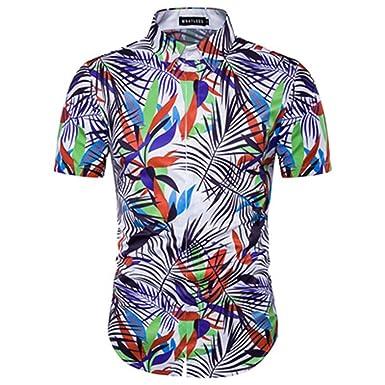 UMEN Mens Vocation Beach Shirts Casual Short Sleeve Man Camisa Social Shirts