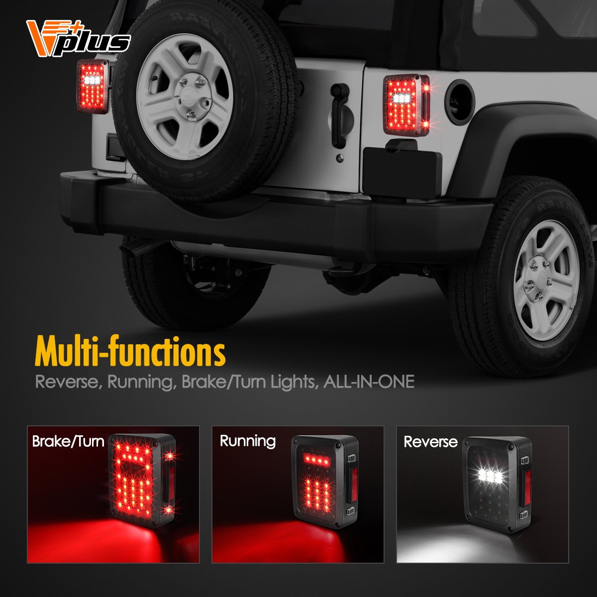 Vplus Led Tail Lights Assembly Smoke Lens Brake Turn Cj Jeep Trailer Wiring Harness 2014 Stop Reverse Drl Light Lamp Replacement For 2007 2017 Wrangler Yj Jk Tj Jku Sports