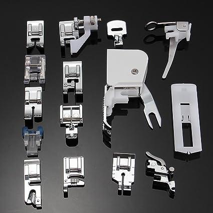 icase4u® Kit de 11/15 Piezas Multifuncional Prensatelas Accesorios para Máquina de Coser Presser