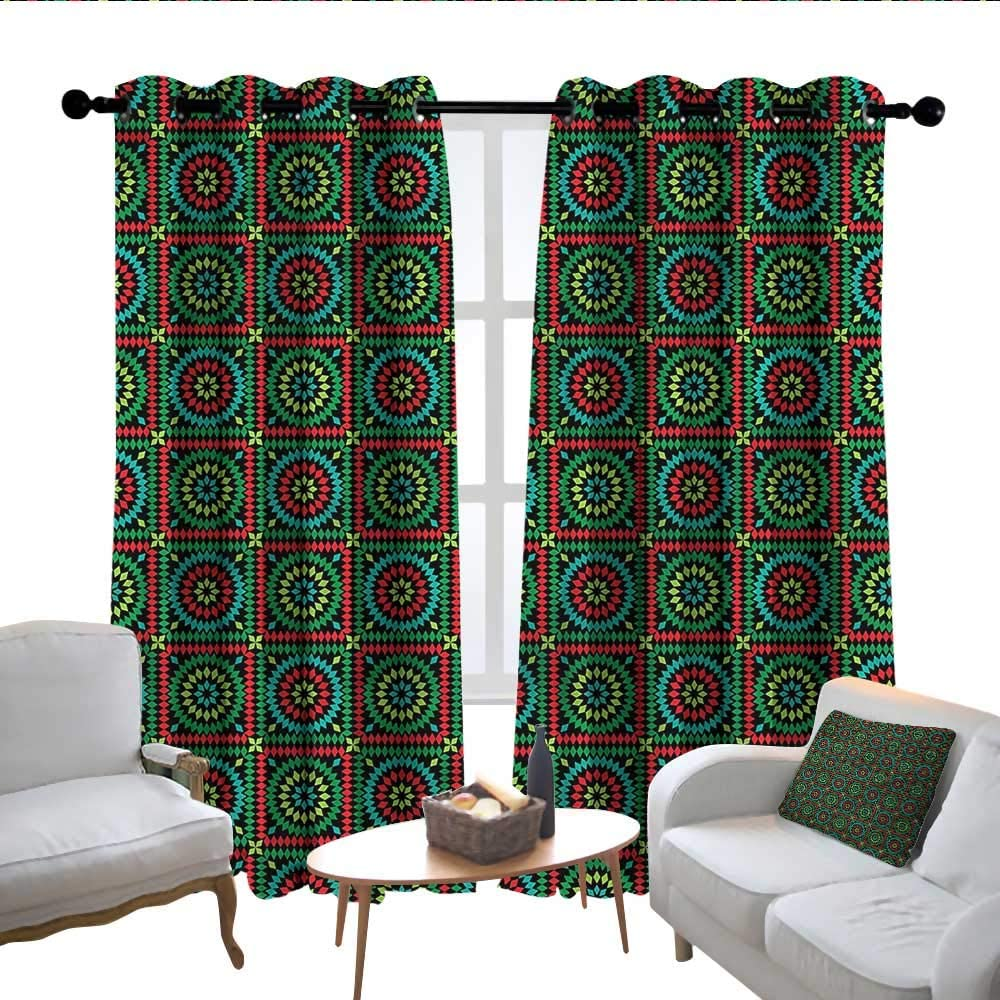 Kitchen Curtains Afghan Circles And Squares Rod Pocket Drapes Thermal Insulated Panels Home Décor 52 X72 Amazon Co Uk Kitchen Home