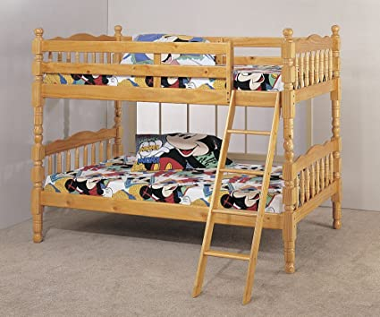 Amazon Com Twin Bunk Bed With Ladder Pine Finish Kitchen Dining