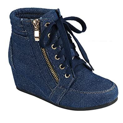 9a52c902eb42c SNJ Women High Top Wedge Heel Sneakers Platform Lace Up Shoes Ankle Bootie  Trends