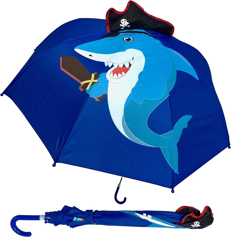 HECKBO Paraguas para niños tiburón con Sombrero Pirata y Espada, Dientes + Isla del Tesoro y Barco Pirata | Paraguas, niños y niñas | para niños en Edad Escolar y para el jardín de Infancia