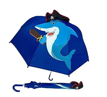 Paraguas para niños HECKBO con tiburón con sombrero pirata y espada, dientes + isla del tesoro ...