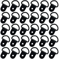 30 Pack Small Steel D-Ring Tie Downs, ExcelFu D Rings Anchor Lashing Ring for Loads on Case Truck Cargo Trailers RV Boats, Black