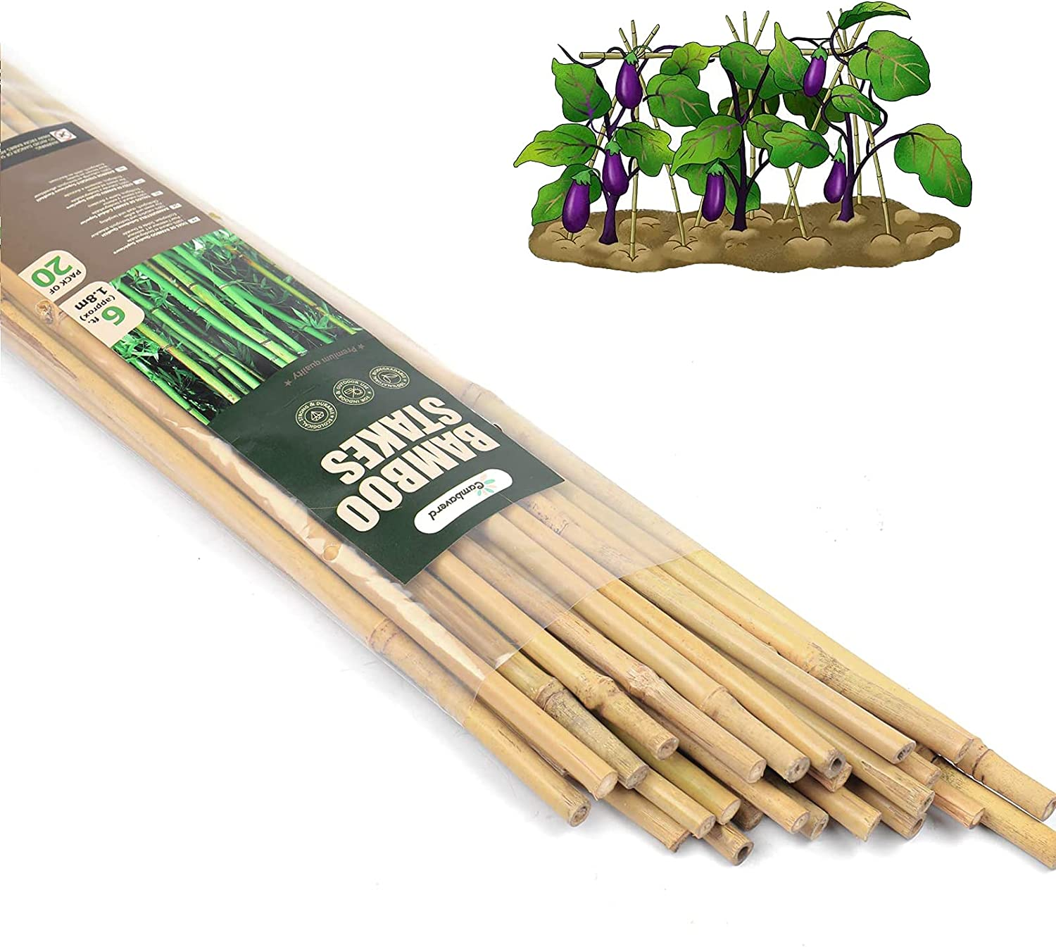 Cambaverd Natural Bamboo Stakes 6 Feet (180cm), Eco-Friendly Bamboo Plant Stakes, for Roma Tomatoes Sunflowers Pole Beans Trees Potted Dahlia Flowers and Climbing Plants - Pack of 20 Bamboo Sticks