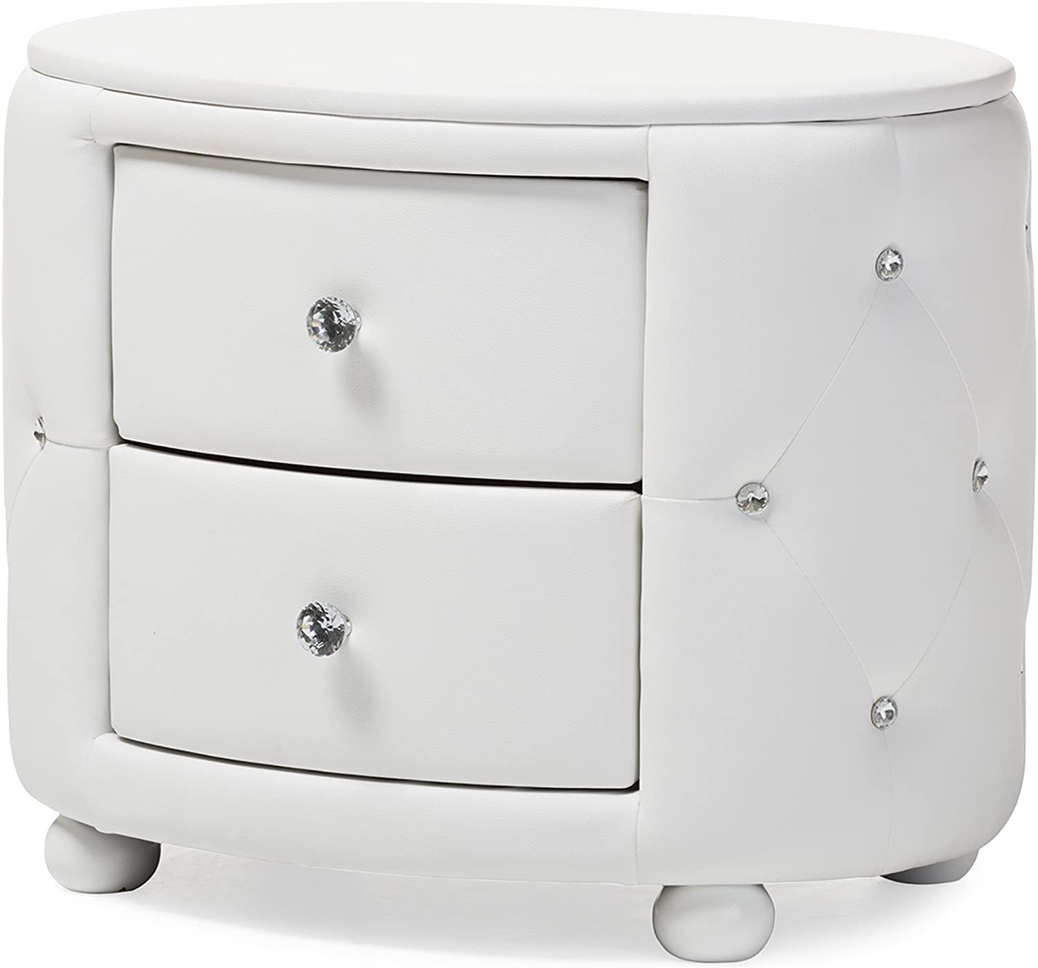 Baxton Studio Davina Hollywood Glamour Style Oval 2-Drawer Faux Leather Upholstered Nightstand, Medium, White