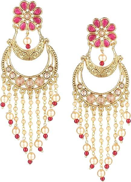 4e6b810468f2b Amazon.com: Efulgenz Indian Bollywood 14K Gold Plated Traditional ...