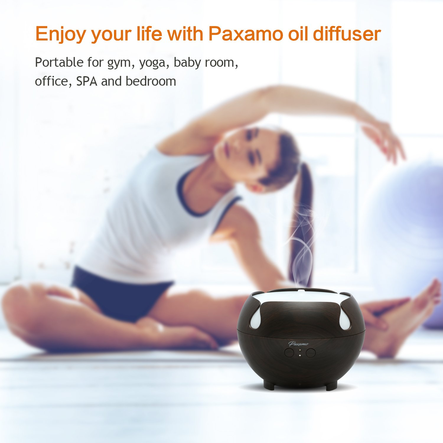Paxamo Essential Oil Diffuser, 600ml Aromatherapy Diffuser with Wood Grain,Ultrasonic Cool Mist Diffusers,...