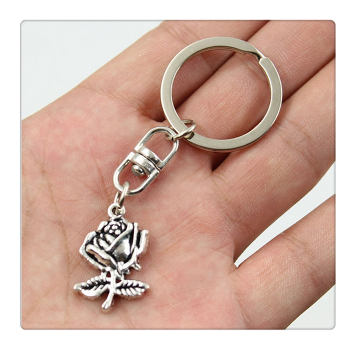 Fashion Car Keychain Silver Color Metal Key Chains Accessory Vintage flower rose Key Rings