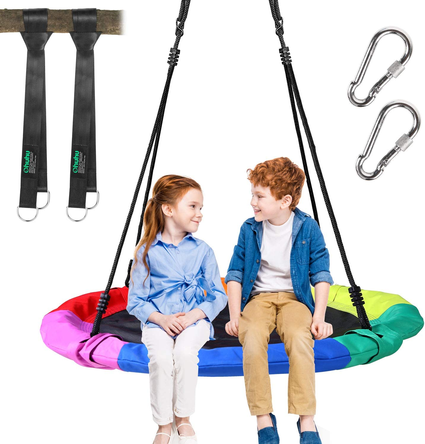 Round Flying Net Saucer Swing Capacity 660lbs RedSwing 40 Spider Web Tree Swing for Kids Safe Durable with Hanging Straps for Outdoor Backyard