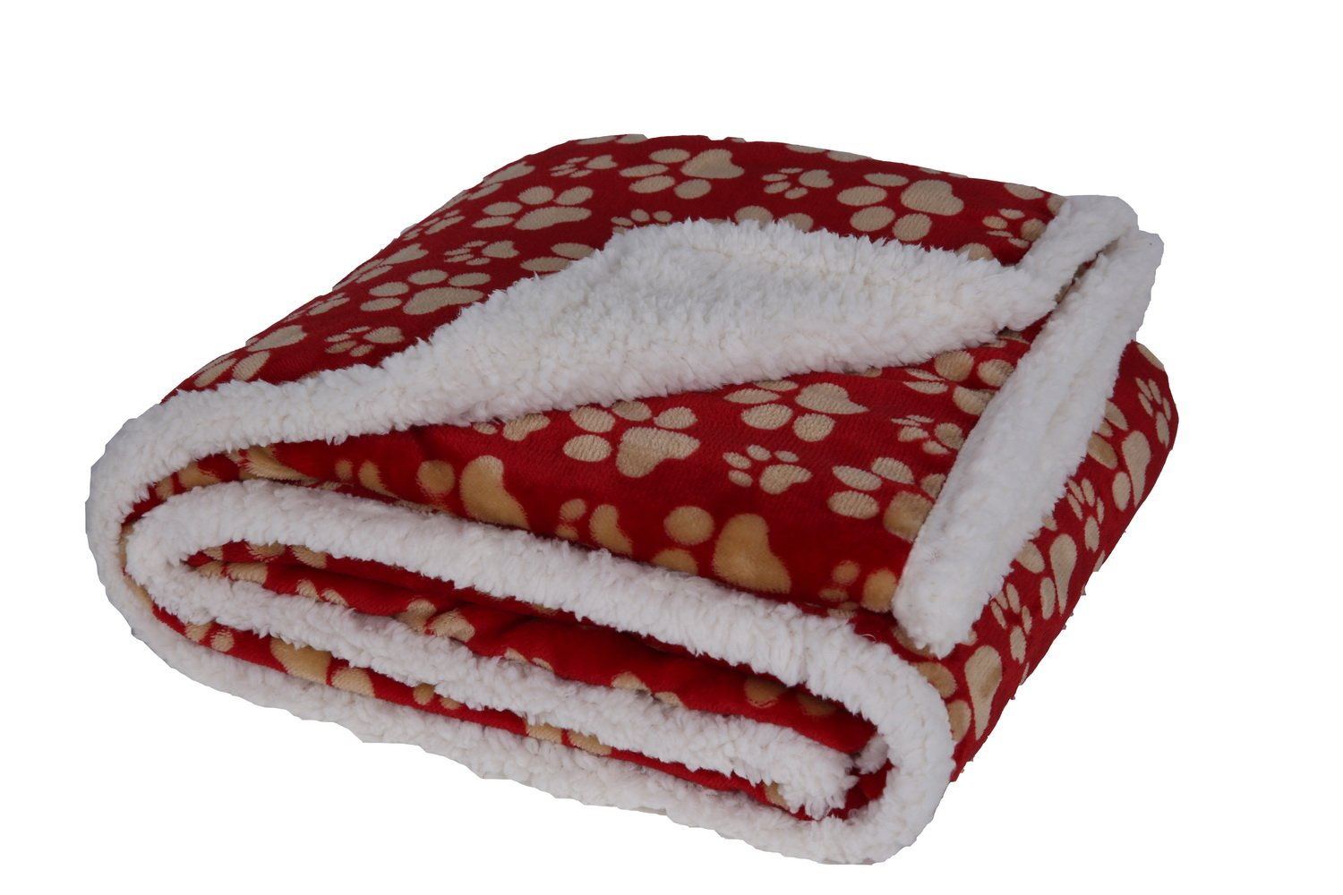 long rich 047393528896 Printed Dog paw Flannel Reverse to Sherpa Throw Blanket, Red, by Happycare Textiles