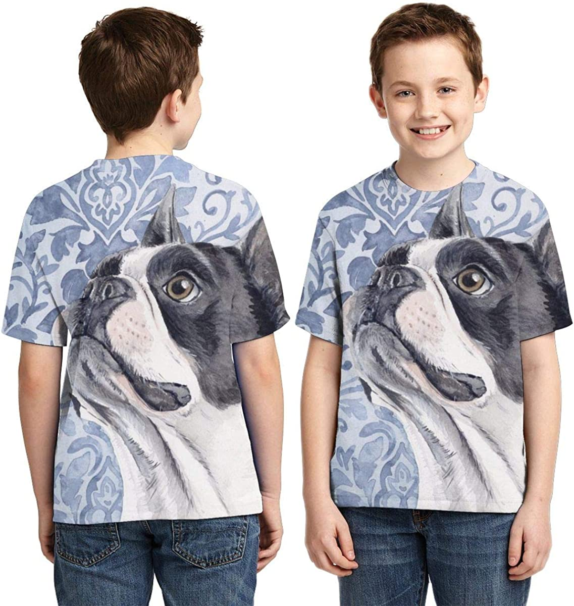 AMODECO Boston Terrier 3D Printed Tee T-Shirt for Youth Teenager Boys Girls