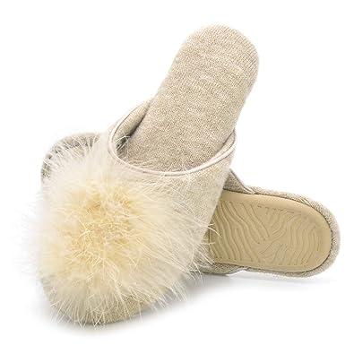 3b8948e70 Zigzagger Women Fluffy Velvet Memory Foam Indoor Flat Slippers w Faux Fur  Cute Pompom
