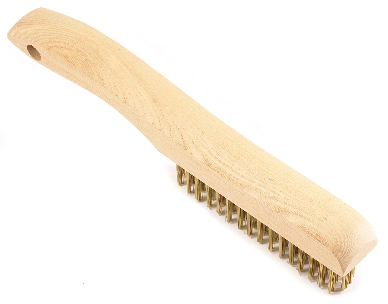 10-1//4-Inch-by-.012-Inch Brass with Wood Shoe Handle Forney 70519 Wire Scratch Brush