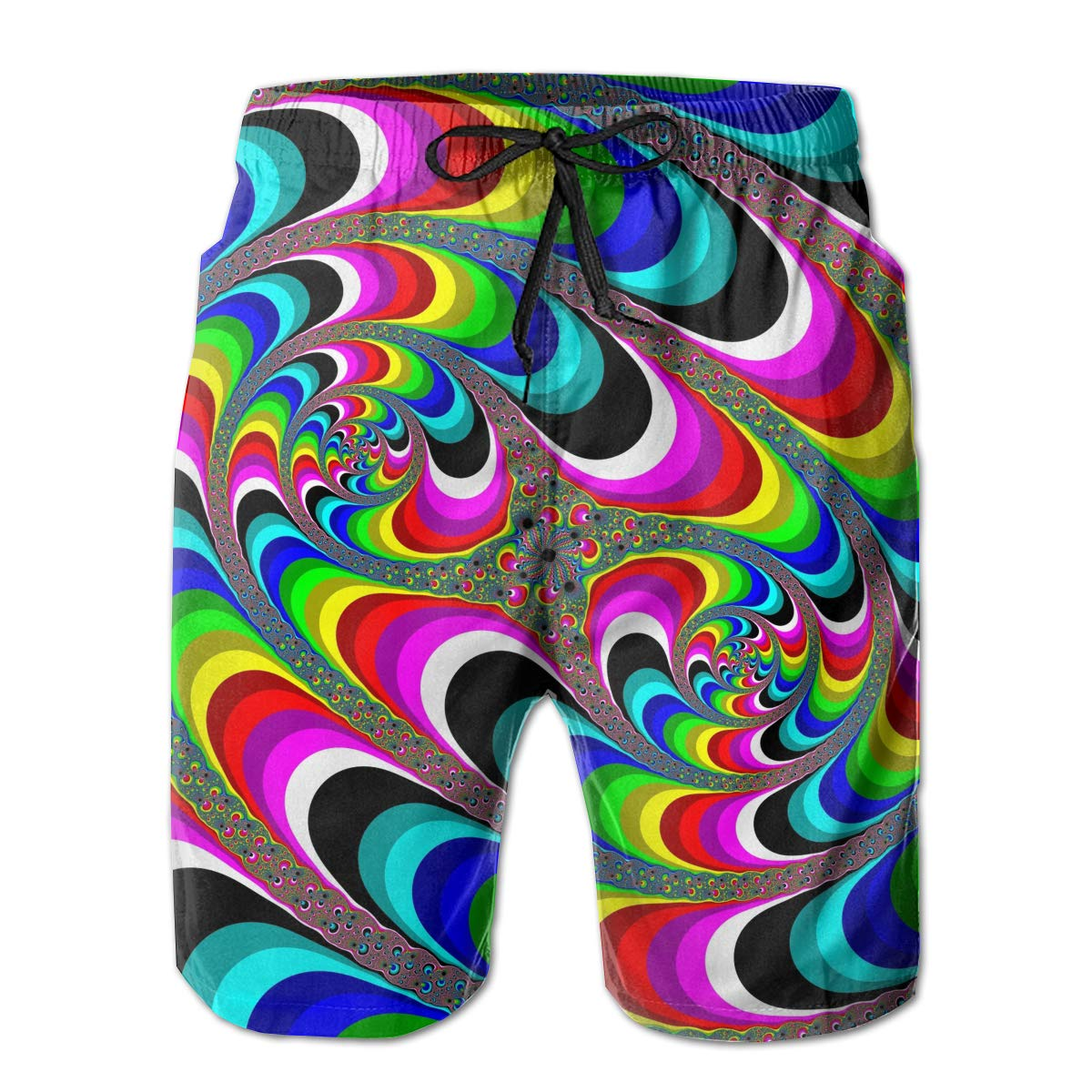 Psychedelic Art Swirl Mens Drawstring Waist Swim Trunks Boardshort