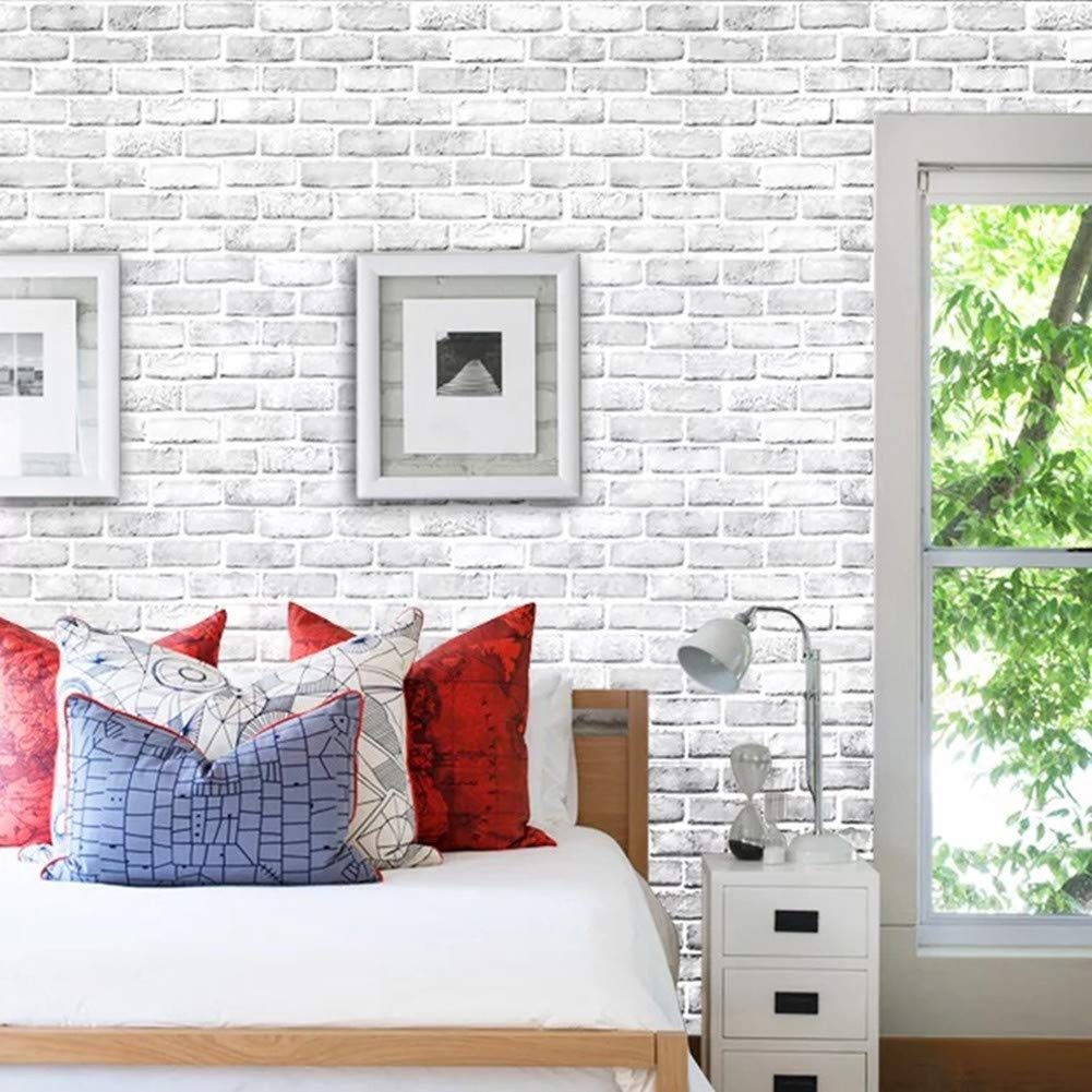 Yancorp White Gray Brick Wallpaper Grey Self-Adhesive Contact Paper Home Decoration Peel and Stick Backsplash Wall Panel Door Stickers Christmas Decor (18''x394'') by Yancorp (Image #6)
