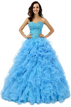 ca1dc6f07e8f Newdeve Sweetheart Organza Ball Gowns Long Baby Blue Prom Dresses with  Beading (4)