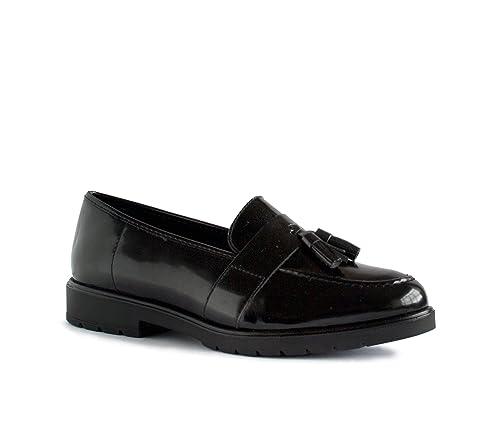 ALEXIA - Mocasines de Piel para mujer negro negro: Amazon.es: Zapatos y complementos