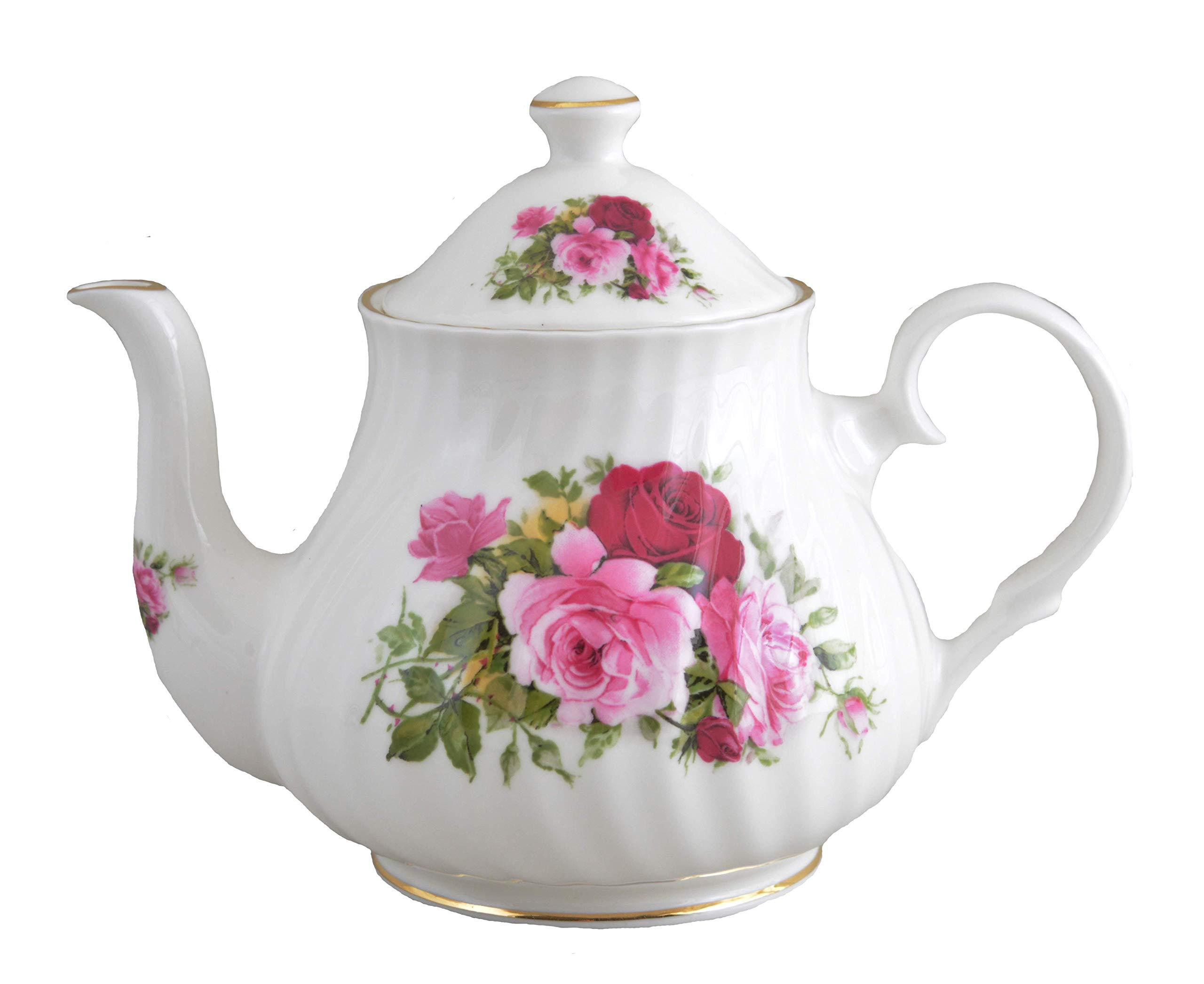 SUMMERTIME ROSE 4 Cup teapot - Fine English Bone China