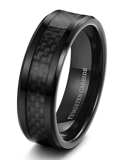 Tungary 8mm Mens Tungsten Carbide Wedding Band Engagement Black Carbon Fiber Beveled Edges Size 8