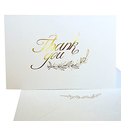 Amazon Com Thank You Cards 50 Elegant Gold Foil Printed Cards