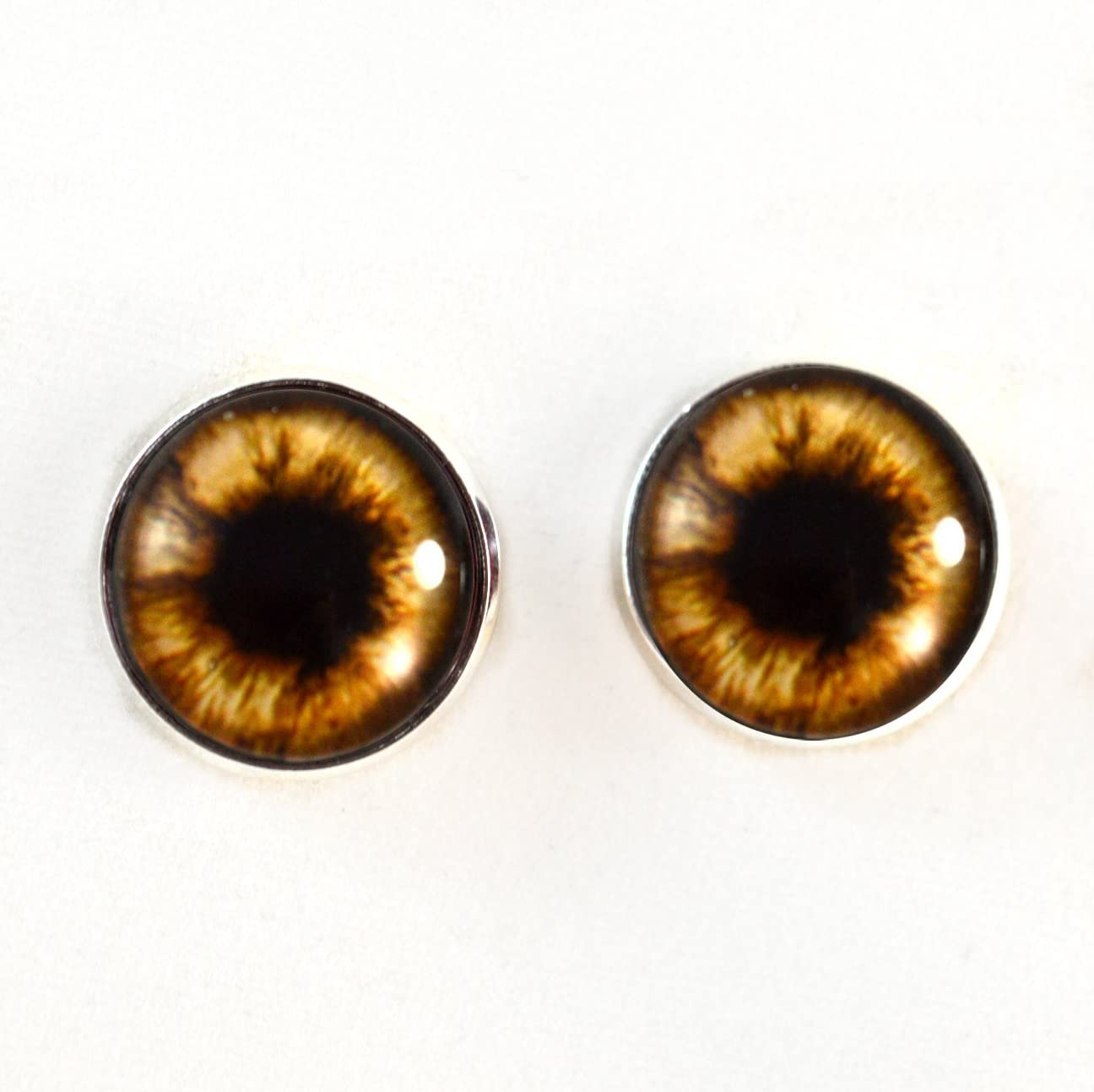 Teddy Bear Plushie Eyes 16mm Brown Glass Eyes Cabochons for Fantasy Art Doll Stuffed Animal Soft Sculptures or Jewelry Making Crafts Set of 2