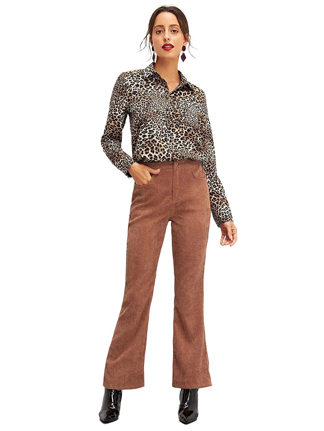 0906f32dfbbf SweatyRocks Women's Sexy V Neck Leopard Long Sleeve Button Down Shirt Blouse  at Amazon Women's Clothing store:
