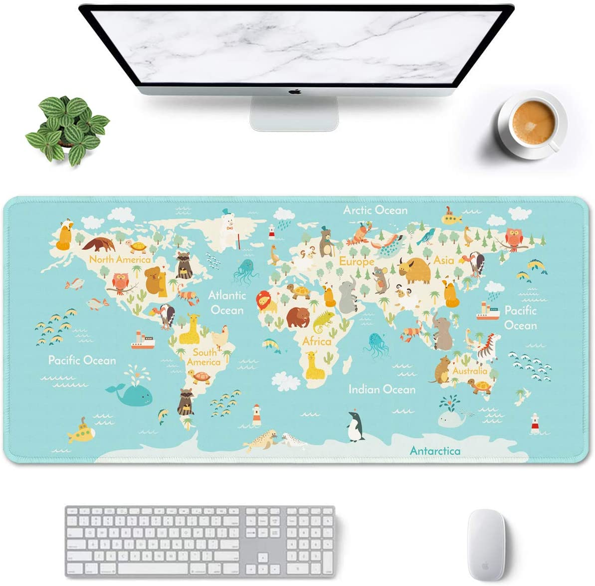 """Auhoahsil Large Mouse Pad, Full Desk XXL Extended Gaming Mouse Pad 35"""" X 15"""", Waterproof Desk Mat w/Stitched Edge, Non-Slip Laptop Computer Keyboard Mousepad for Office & Home, Cute Animal Map Design"""