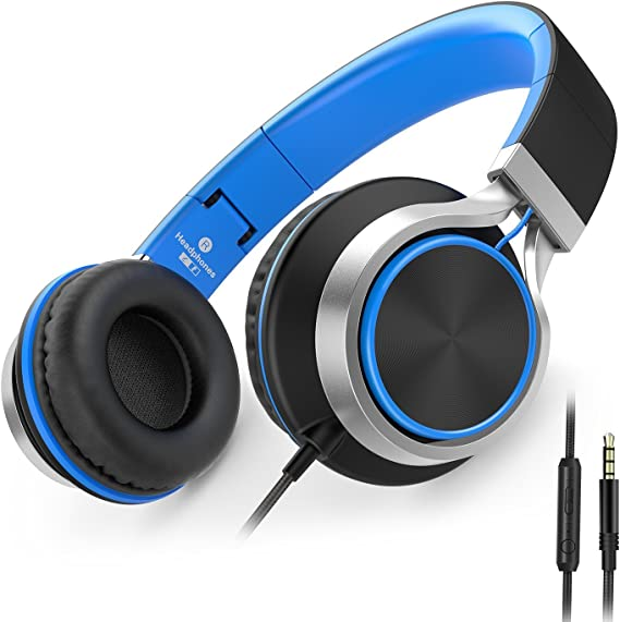 AILIHEN C8 Wired Headphones with Microphone and Volume Control Folding Lightweight Headset for Cellphones Tablets Smartphones Laptop Computer PC Mp3/4 (Black/Blue)