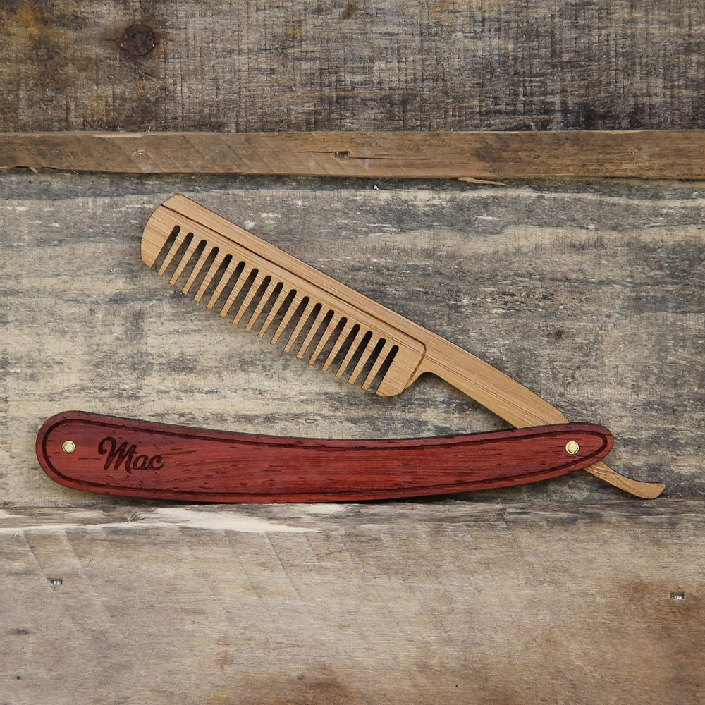 Wood Straight Razor Beard Comb - Handmade and Personalized - Padauk and Bamboo Hardwoods