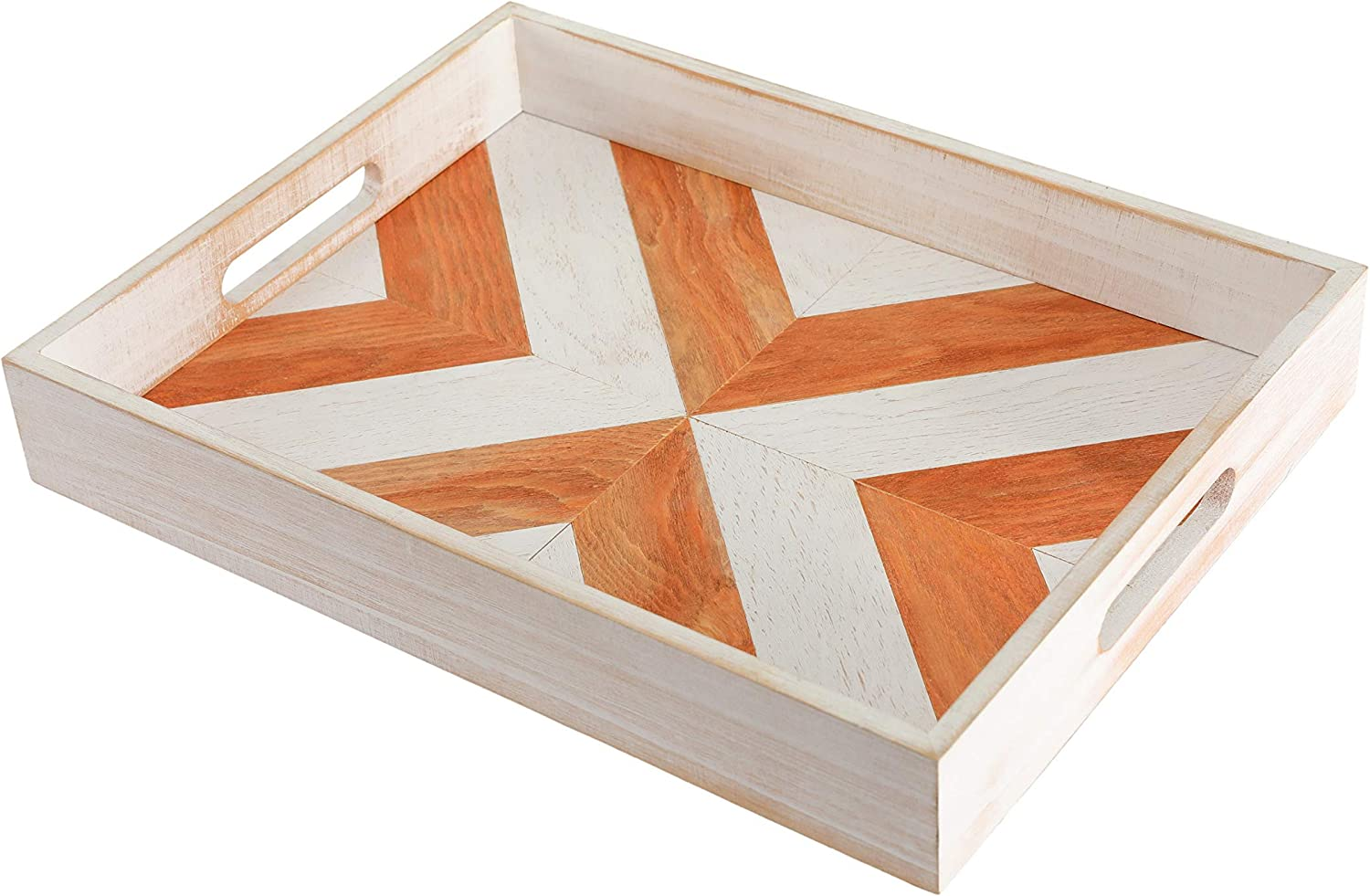 Handmade Wooden Serving Tray with Handles - 16.1x12.2 Inch Serving Tray for Ottoman - Decorative Trays for Coffee Table - Rustic Tray - Food Serving Tray