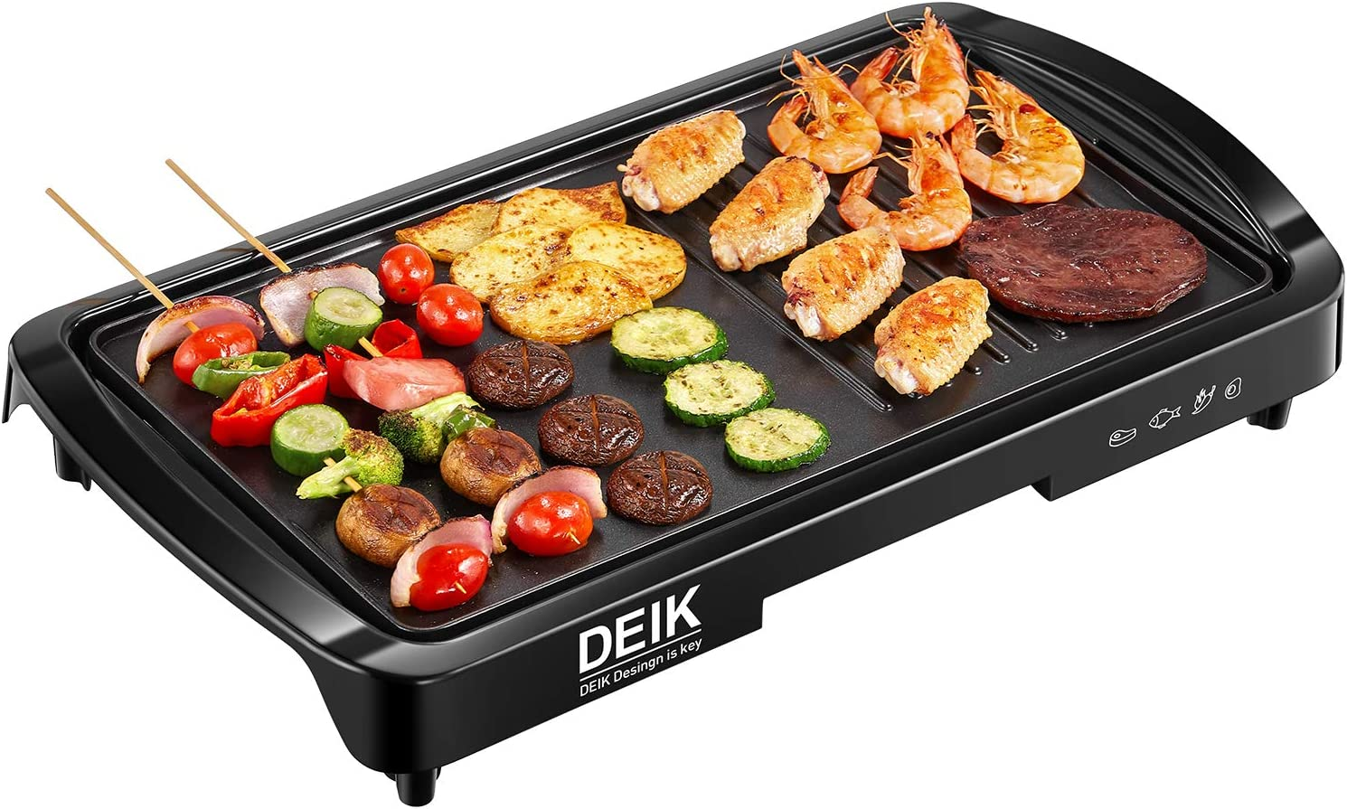 Electric Griddle, DEIK 2-in-1 Indoor Grill Smokeless Coated Non-Stick Pancake Griddle, 20''x10'' Extra Large Surface with 2 Oil Collection Channel, Cold-Touch Design, 5-Level Control, 1600W