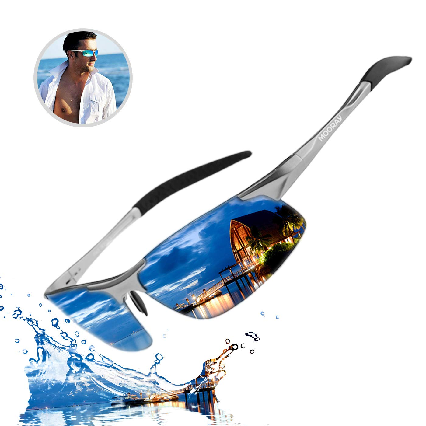 037fd79438 MOORAY Mens Sports Polarized Sunglasses UV Protection Fashion Sunglasses  for Men Fishing Driving