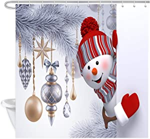 Christmas Snowman Shower Curtain, Xmas Snowman Looking Out with Christmas Tree Hanging Ornaments Balls Winter Holidays Bathroom Curtains, Shower Curtains Bathroom Accessories with Hooks ,69X70 In