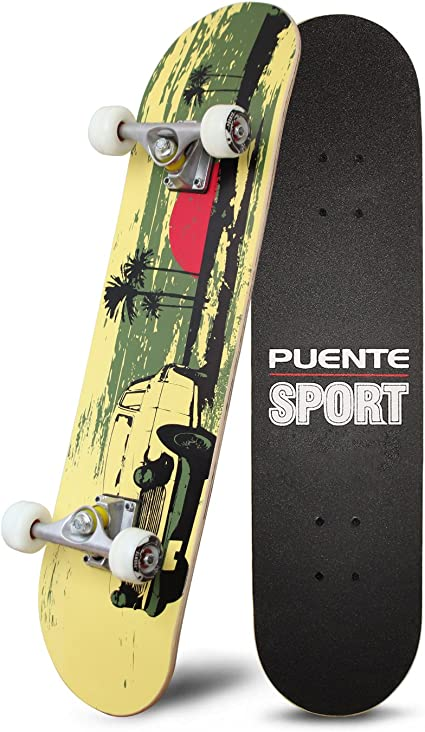 """Print Fire Skull Wood Board Deck Complete Skateboard 31/""""x8/"""" Cruiser Longboard"""