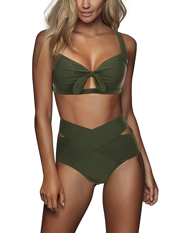 SUNGIFT Women 2 Piece Swimsuit High Waist Cross Bandage Swimwear Bowknot Halter Cutout Beachwear Sexy Bikini Bathing Suit-L