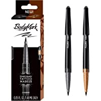 BIC BodyMark Temporary Tattoo Marker with Brush Tip, Henna Vibes, Black and Brown, Pack of 2 Markers
