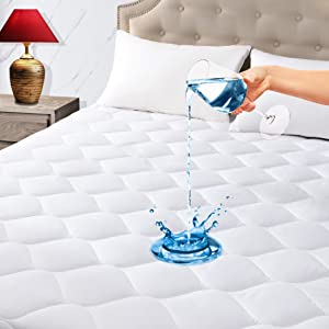 King Quilted Fitted Waterproof Mattress Pad, Premium Filling Mattress Cover, Breathable, Quiet, Cooling, Hypoallergenic, Machine-Washable Mattress Protector with Deep Pocket, Vinyl Free