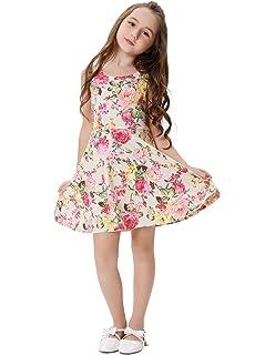 GRACE KARIN Vestido Vintage de Niñas Años 50 para Fiesta Cóctel Vestido Algodón de Verano sin