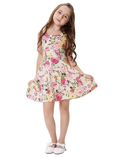 GRACE KARIN Niña Vestido Estampado de Verano con Flores Vestido Vintage sin Mnagas 6~7
