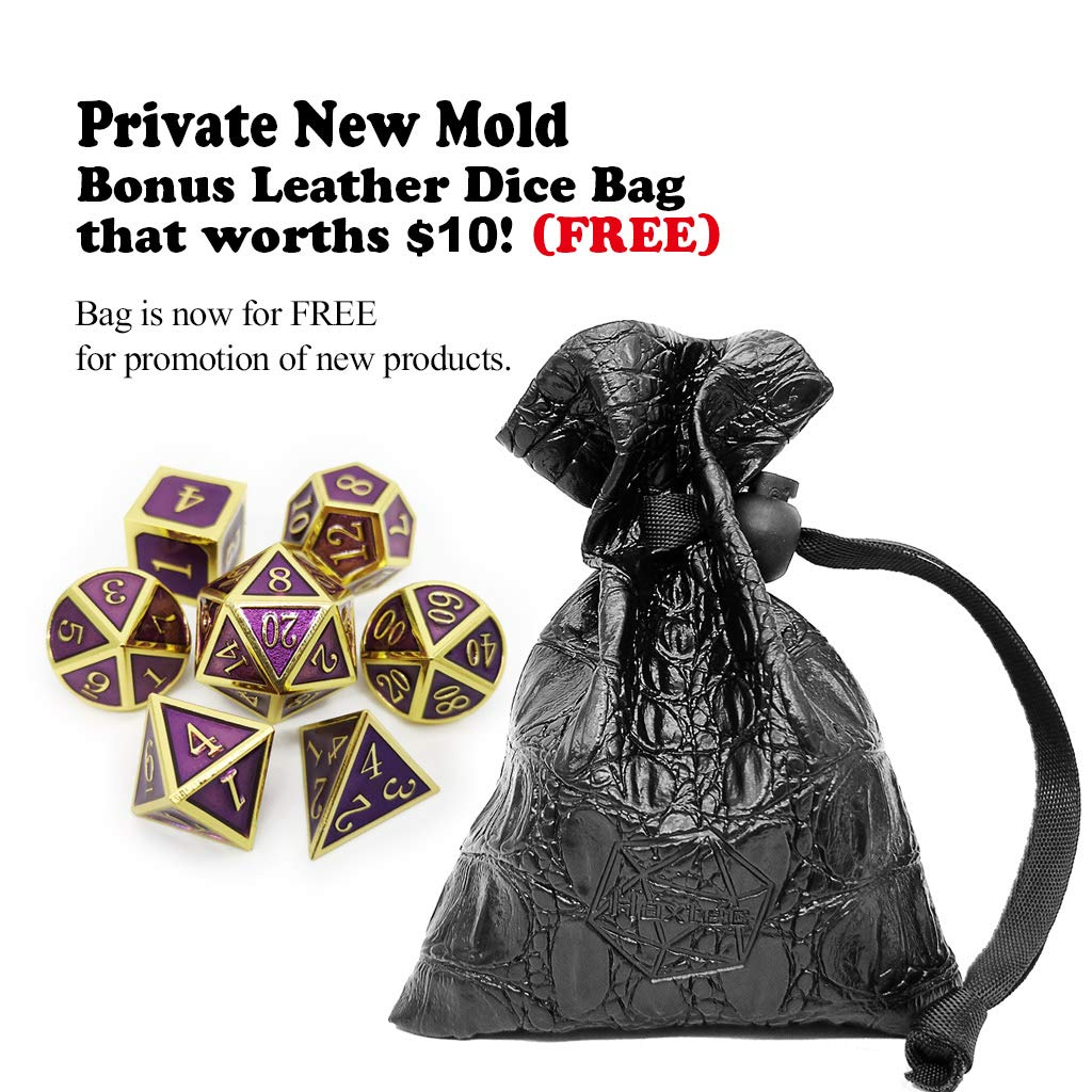 Silver Royal Purple Haxtec 7PCS Metal Dice Set Silver Purple DND Dice for Dungeons and Dragons DND RPG Table Games-Glossy Enamel Dice