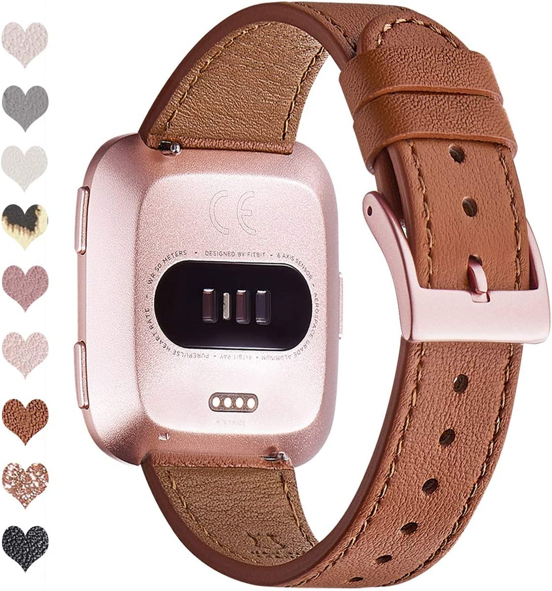 OMIU Bands Compatible with Fitbit Versa/Versa 2/Versa Lite/Versa SE for Women and Men, Classic Soft Leather Strap Replacement Wristband for Fitbit Versa Smart Fitness Watch (Brown/Rose Gold)