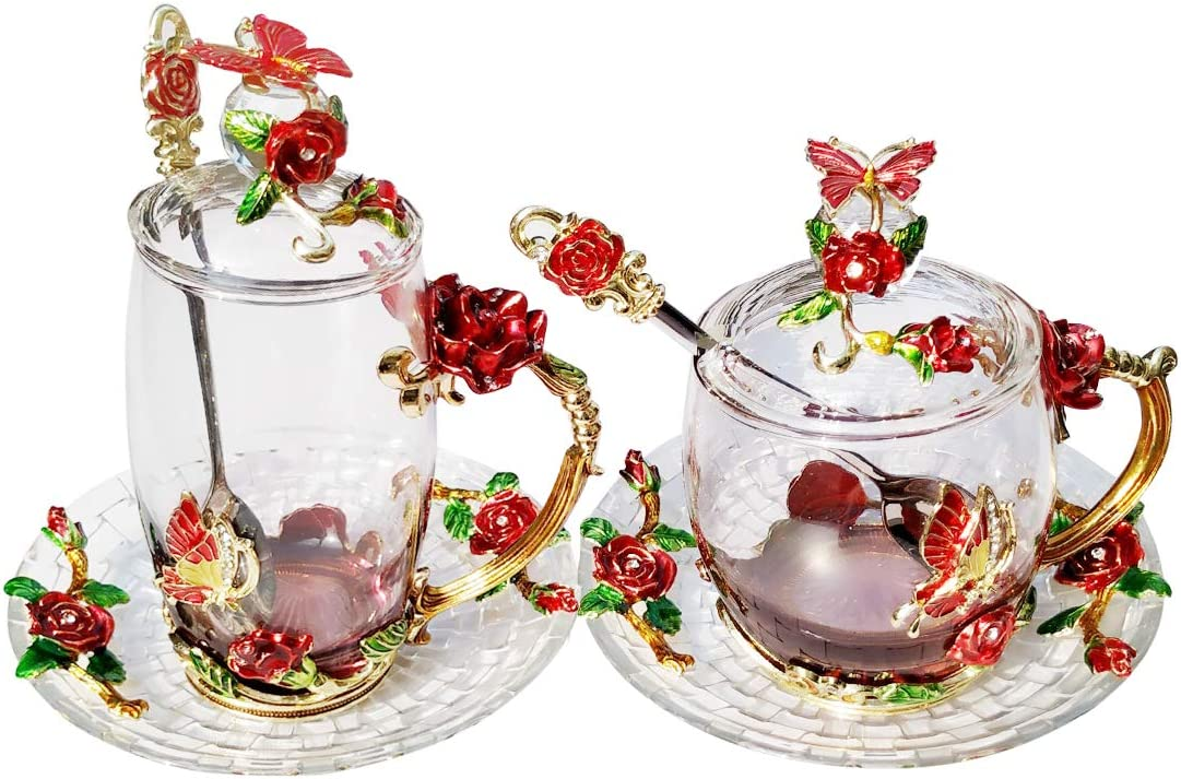 LANTREE Fancy Glass Tea Cup with Lid Saucer Spoon Floral Coffee Mug Unique Christmas Gift Birthday Gift for Friend Female Mother-in-Low Daughter House Warming Gift(Tall Red